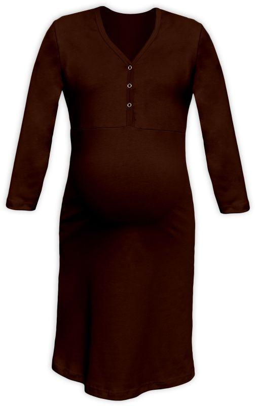 4095b6ce329f Tehotenská a dojčiaca nočná košeľa s výstrihom na cvočky hnedá empty