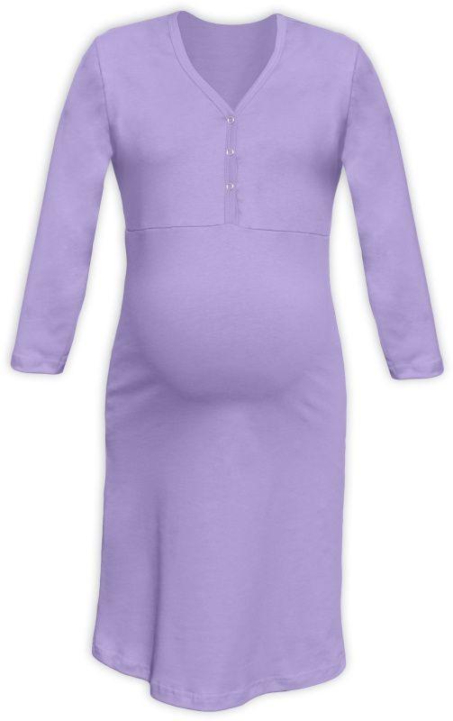 067f1c1644df Tehotenská a dojčiaca nočná košeľa s výstrihom na cvočky levandulová empty