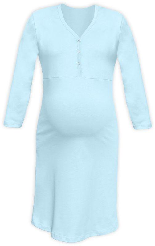 650680e9fb70 Tehotenská a dojčiaca nočná košeľa s výstrihom na cvočky sv.modrá empty