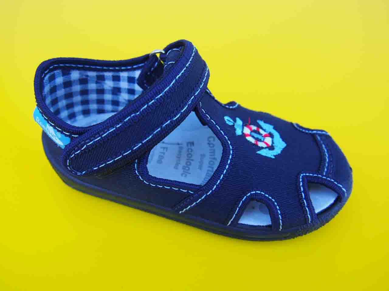 3fb2af96f3 Detské papučky Renbut - tmavé s kotvami empty