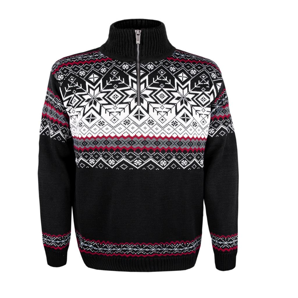 adfb97e6fb45 Pánsky sveter Kama 4071 čierny s nórskym vzorom