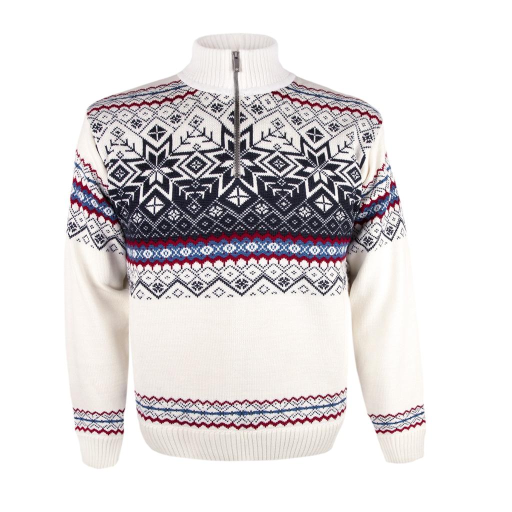 dc336a5de210 Pánsky sveter Kama 4071 biely s nórskym vzorom