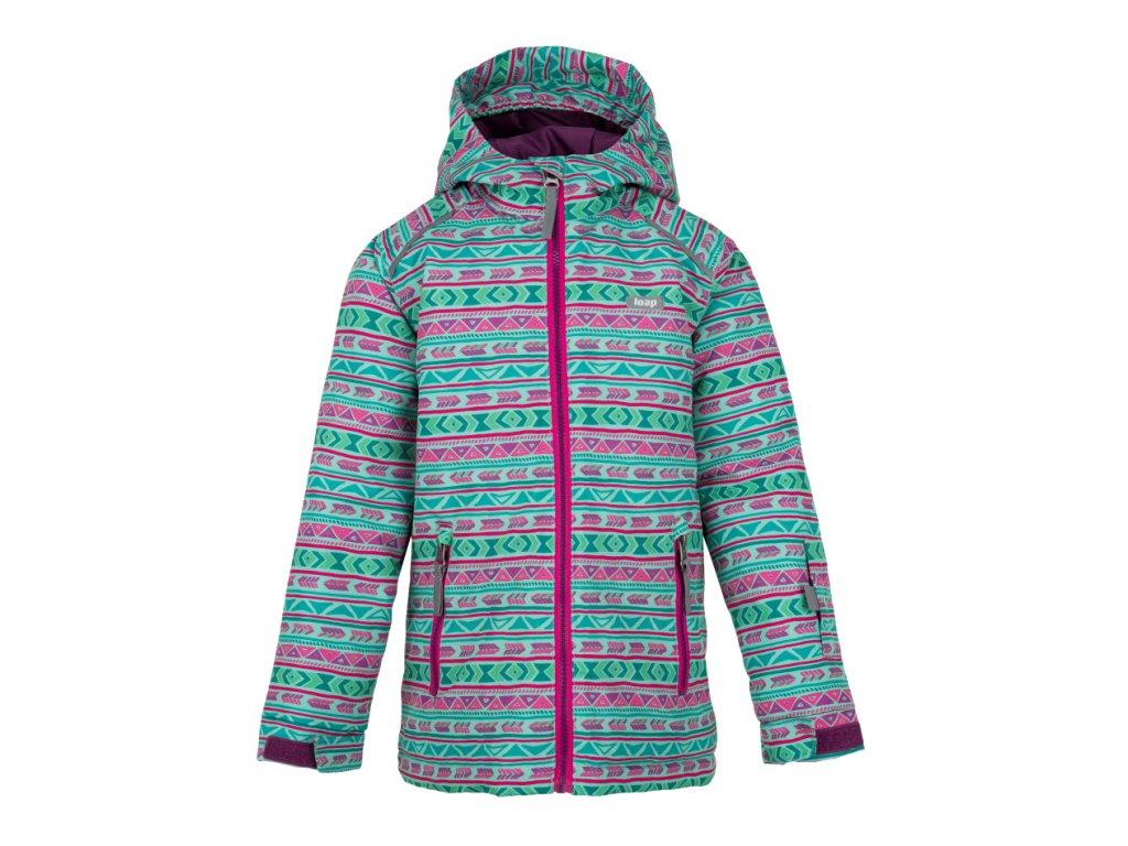 Detská zimná bunda Loap Centus zelená ružová 8352525202f