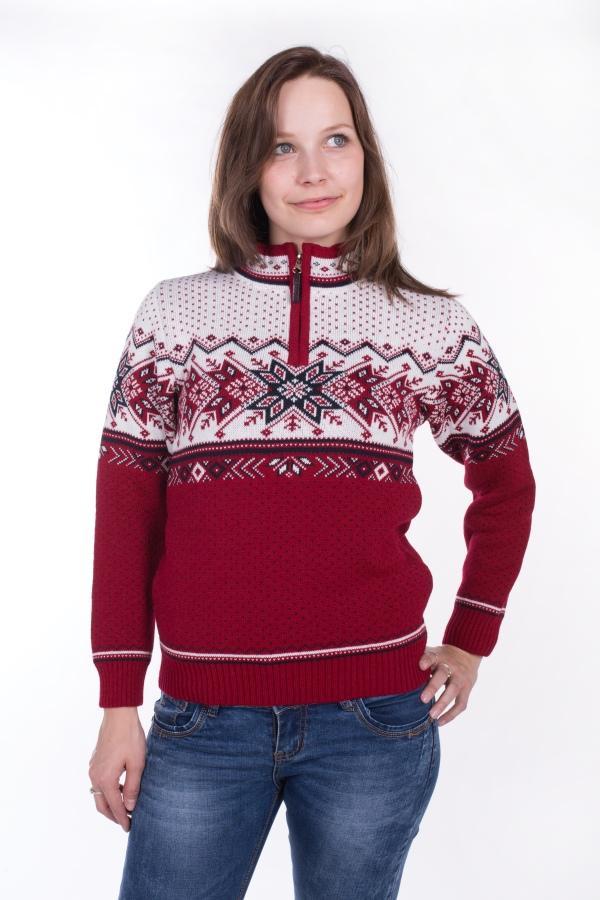 2fbd669fd431 Dámsky sveter s nórskym vzorom Ewident Igora-Z červená