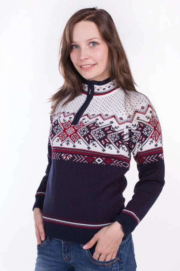 d0b7b546b80e Dámsky sveter s nórskym vzorom Ewident Igora-Z tm. modrá biela červená