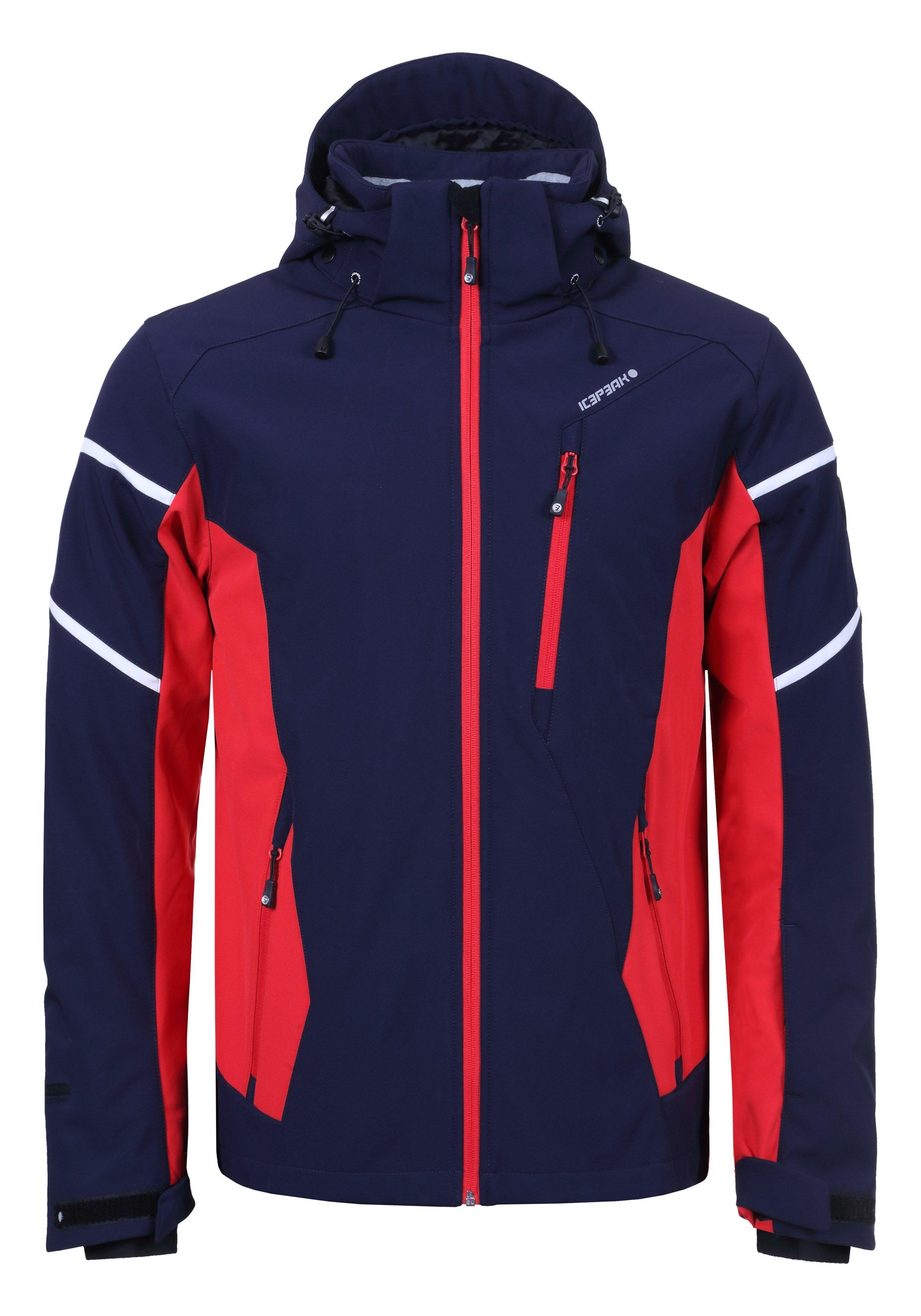 Pánska lyžiarska softshellová bunda Icepeak Nils tm. modrá   červená 9cdc77819c2