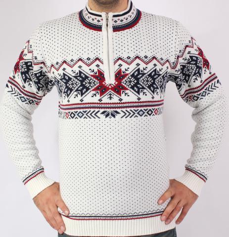 93690b458473 Pánsky sveter s nórskym vzorom Ewident IGOR-Z biely