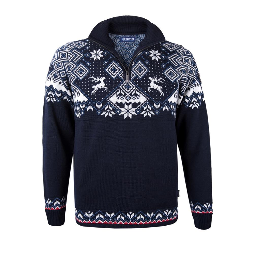 bb83f73708d4 Pánsky sveter Kama 4093 tm. modrý 108 s nórskym vzorom empty