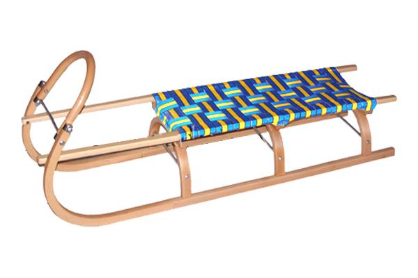 Dětské drevené sánky s výpletom popruh, z bukového dreva