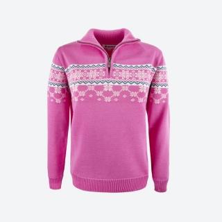 1c693965d26c Dámsky sveter s nórskym vzorom Kama 5007 ružový empty