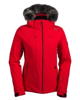 Dámska luxusná lyžiarska bunda SPH Carezza s pravou kožušinou červená 2018 19  empty 97ea0685a0a