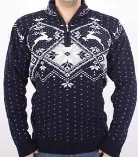 cc73600dffb5 Pánsky sveter s nórskym vzorom Ewident Jeleň Z tm. modrý empty
