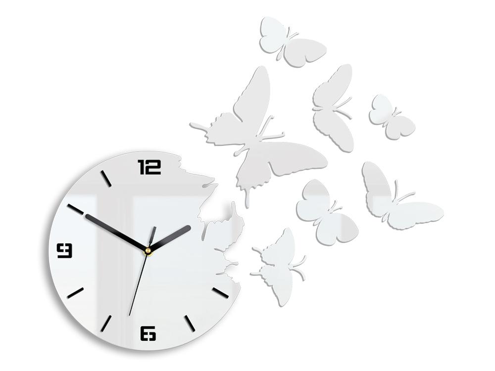 cdb617a7cf1 Moderné nástenné hodiny BUTTERFLIE 3D WHITE NH049 empty