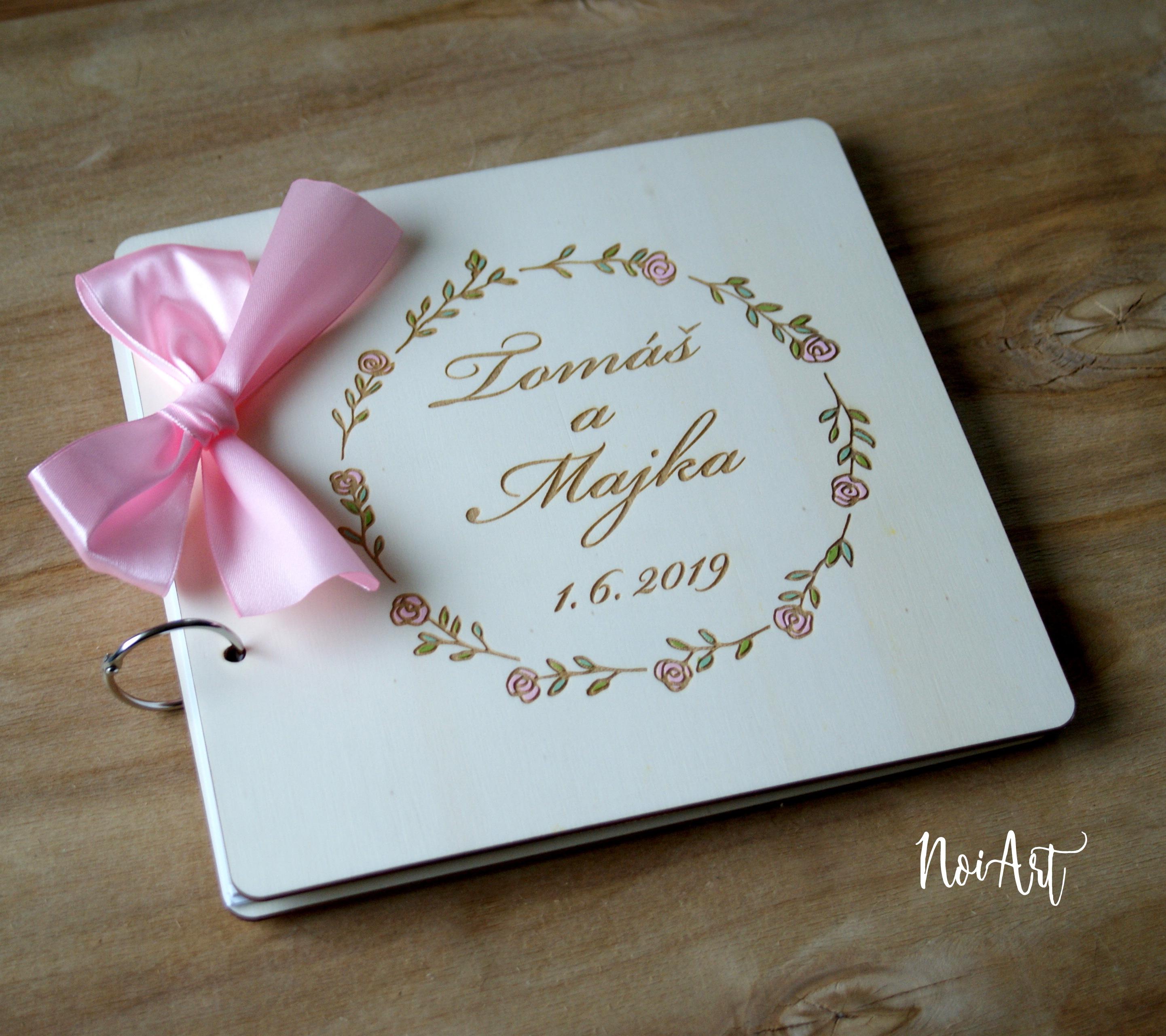 c6ee3ef52 Svadobná kniha hostí, drevený fotoalbum - venček10