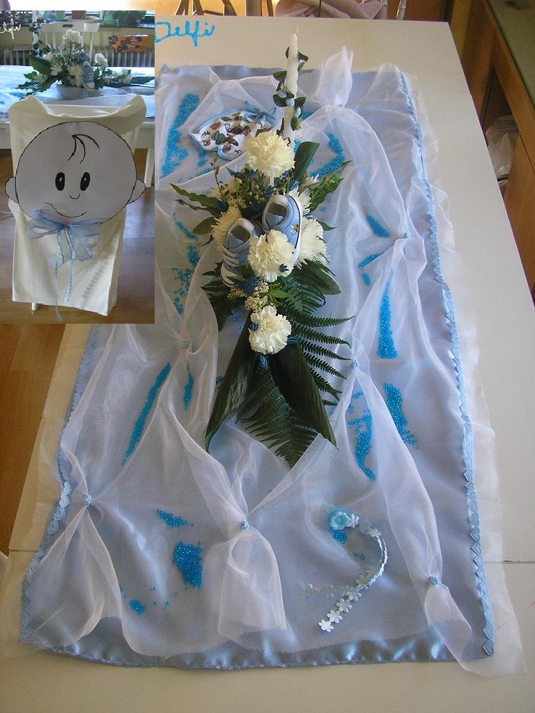 Výzdoba stola na krstiny