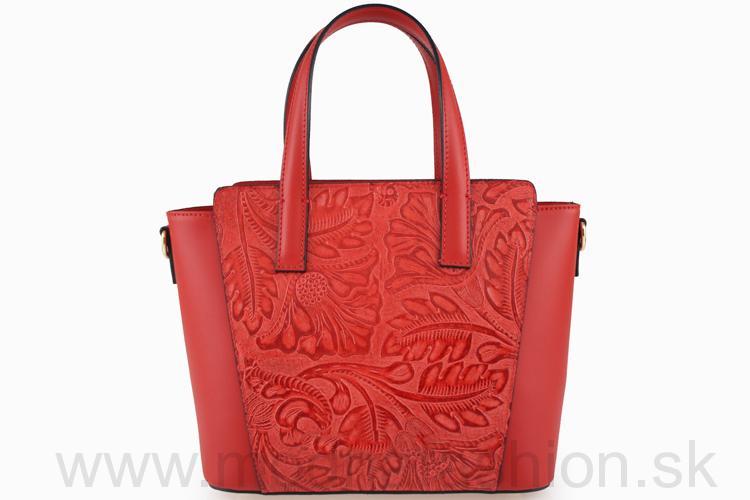Talianska kožená kabelka do ruky 395 červená abc60ceb016