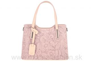 5b78df2b82 Kožená kabelka s potlačou kvetov 681 ružová MADE IN ITALY empty