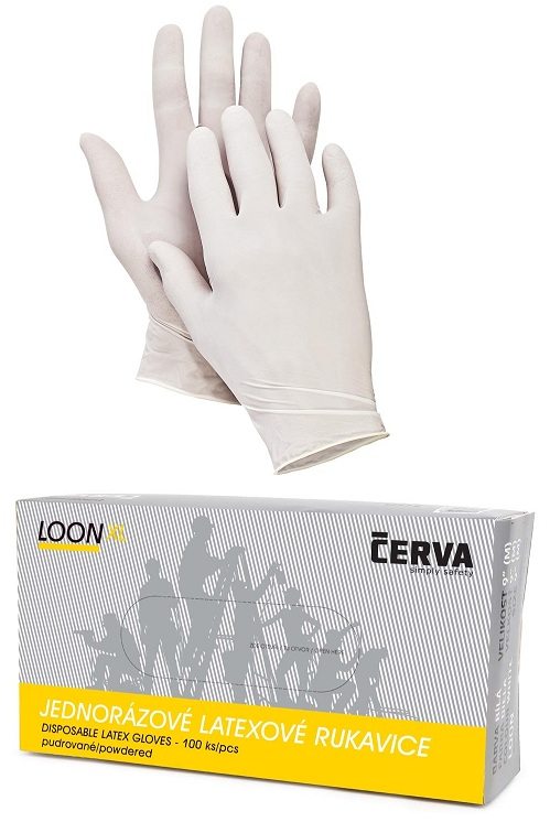 783c3ff724e LOON jednorázové latexové púdrované rukavice