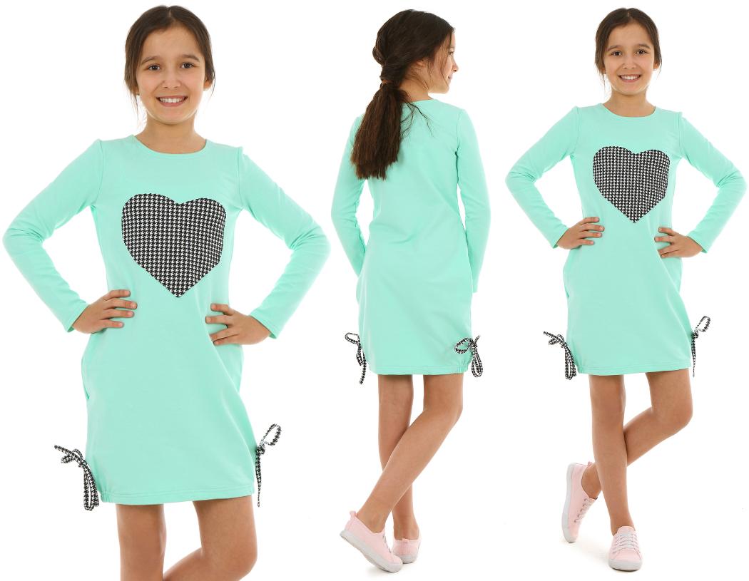 ... dievčenské šaty s dlhým rukávom mätové so srdiečkom empty 20ebe300553