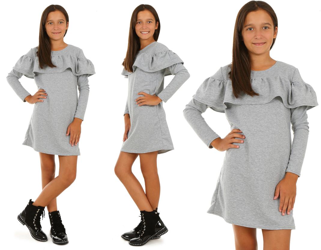 ... dievčenské šaty s dlhým rukávom volán sivé empty 8bf24828e13