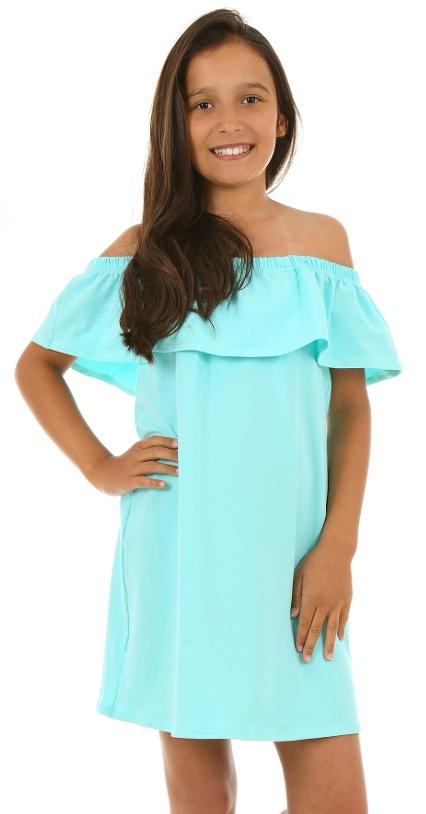 dievčenské letné šaty s volánom mätové 2e033940ac