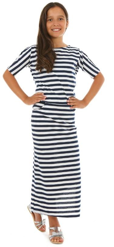 12c1a60a7f46 dievčenské letné dlhé šaty pruhované