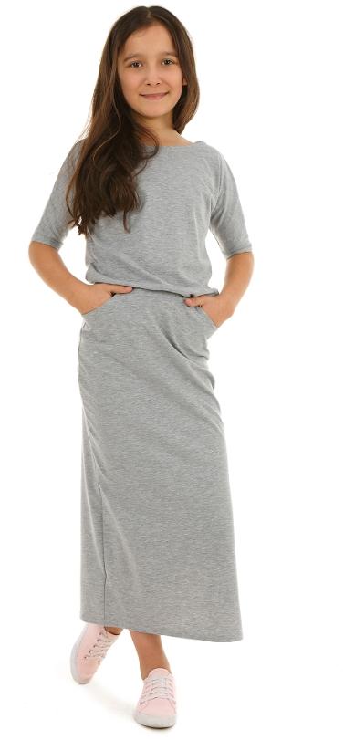 1338929d8 dievčenské letné dlhé šaty sivé