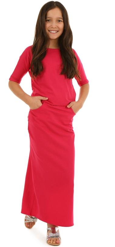 dievčenské letné dlhé šaty fuksia d7bd96db79