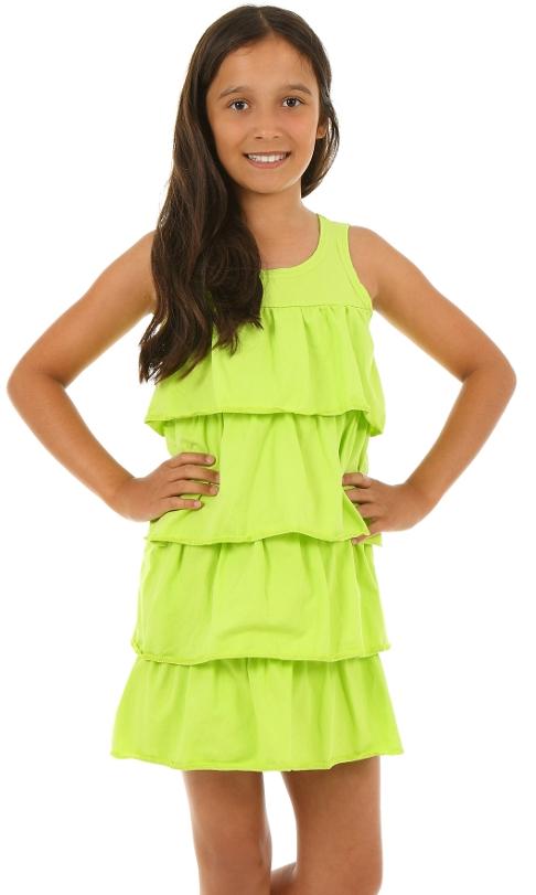 8fba3a32fb9f dievčenské letné volánové šaty limetka