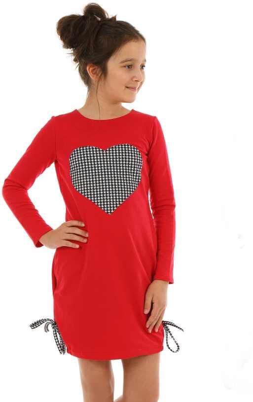 9808d34c8b2a dievčenské šaty s dlhým rukávom červené so srdiečkom