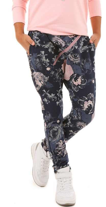 d514a13aa88c dievčenské baggy nohavice kvetinové modré