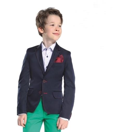 7126129c5076 chlapčenské sako RAFAL v modrej farbe s červeným prešitím