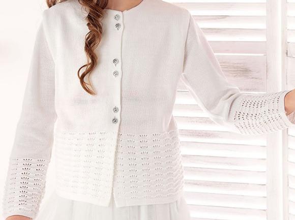 c86f6ceca815 dievčenský biely pletený sveter