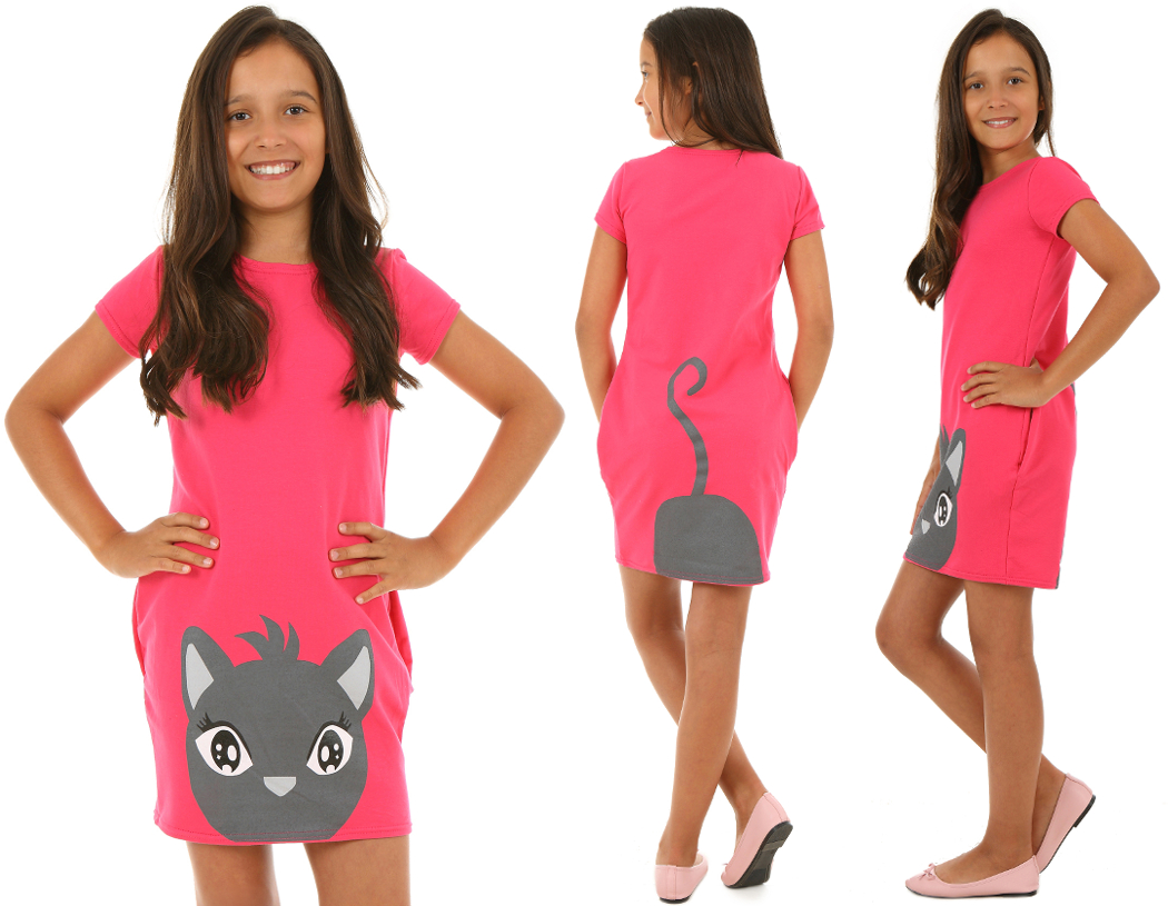 73fbaddfee1e letné šaty pre dievčatá s mačkou fuksia