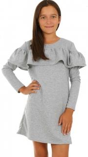 dievčenské šaty s dlhým rukávom volán sivé ... 807a1a2a01a