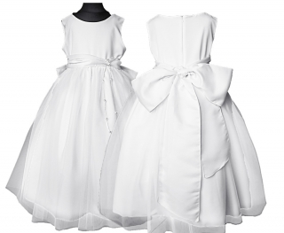 5ab80892361f dievčenské slávnostné dlhé šaty LEONTYNA v bielej farbe s bielou šerpou  empty