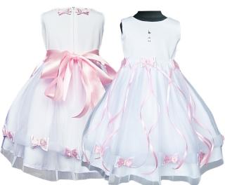 dievčenské slávnostné dlhé šaty LEONTYNA v bielej farbe s ružovými  mašličkami empty 6e2cbd0eb38