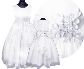 8441ee293084 dievčenské slávnostné dlhé šaty LEONTYNA v bielej farbe s bielym kvetom  empty