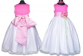 be38f1e7dc26 dievčenské slávnostné dlhé šaty LEONTYNA v bieloružovej farbe empty