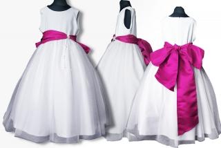 115d9f1adad4 dievčenské slávnostné dlhé šaty LEONTYNA v bielej farbe s ružovou šerpou  empty