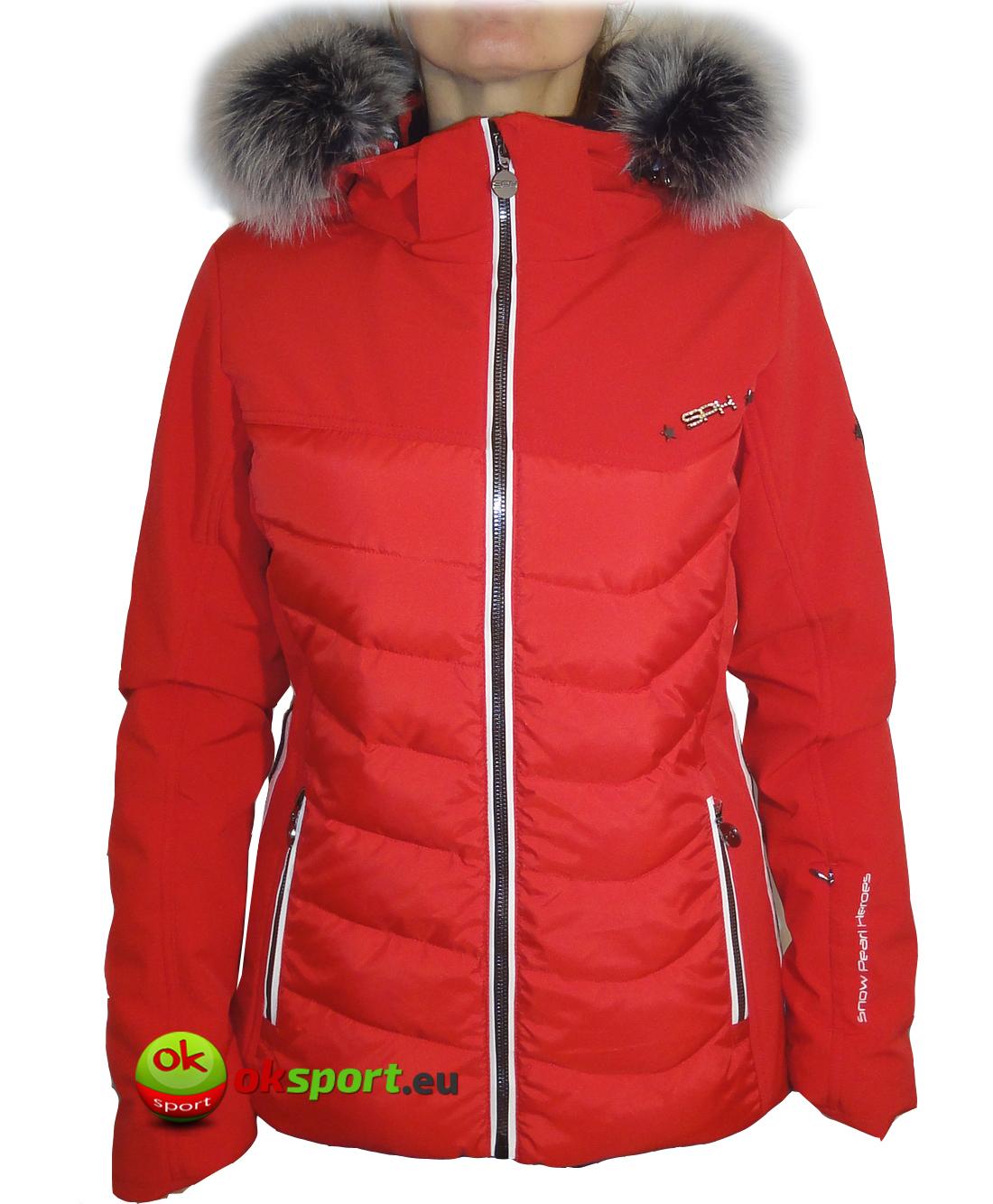 Dámska luxusná lyžiarska bunda SPH Morzine s pravou kožušinou červená 2017  18 0dbe8909ca0