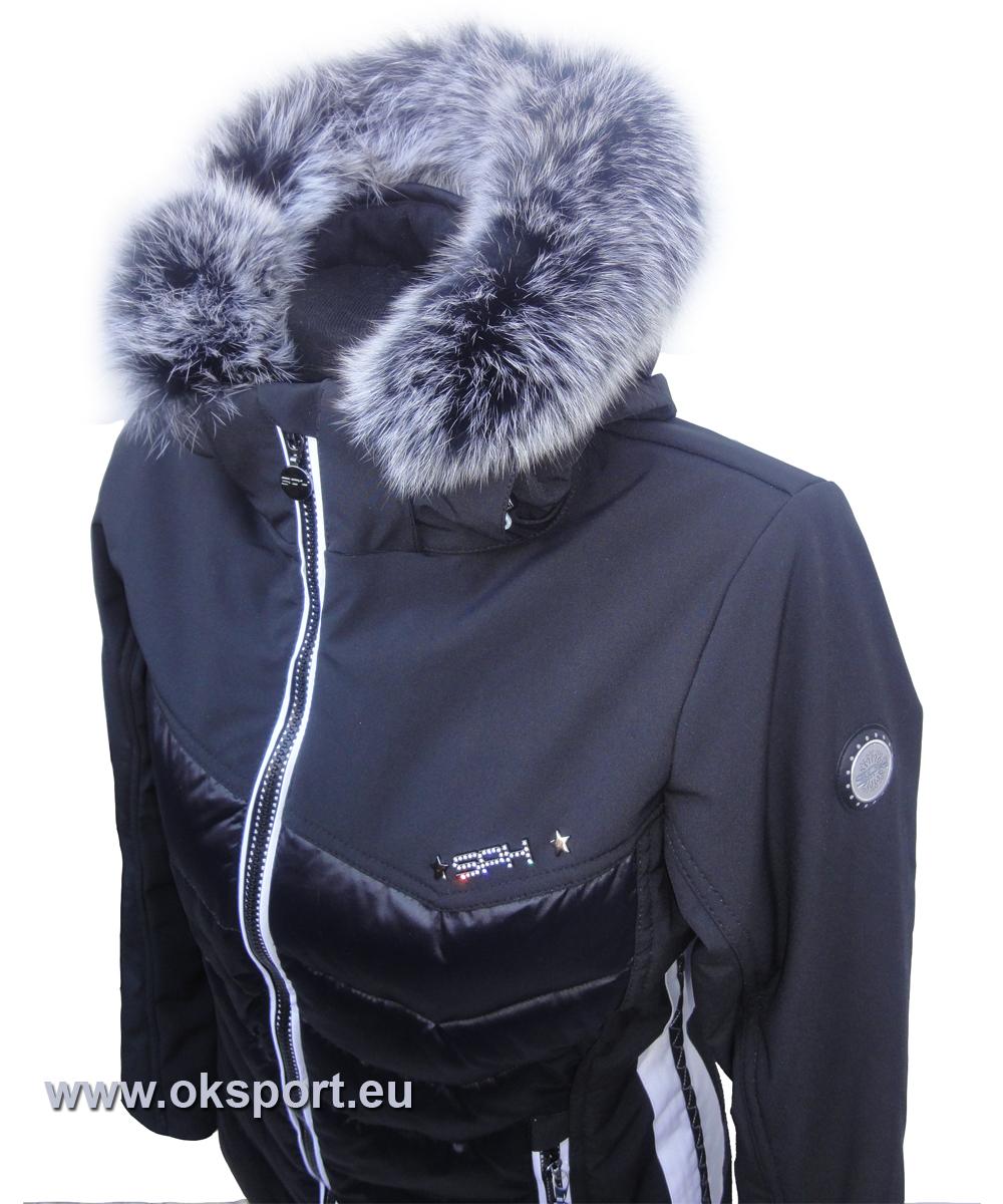 Dámska luxusná lyžiarska bunda SPH Morzine s pravou kožušinou čierna 17 18 3cdc7ff09da