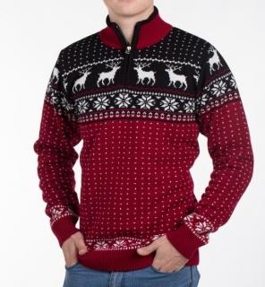 4a265355588f Pánsky sveter s nórskym vzorom Ewident Marcel červený empty
