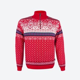 32288005fd7c Pánsky sveter Kama 471 červený s nórskym vzorom empty