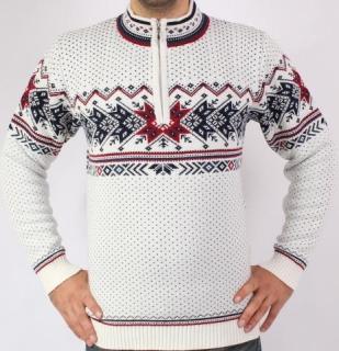 e21bcadf4388 Pánsky sveter s nórskym vzorom Ewident IGOR-Z biely empty